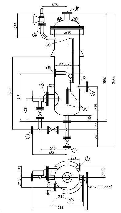 Сепаратор непрерывной продувки СП-0,28-0,45
