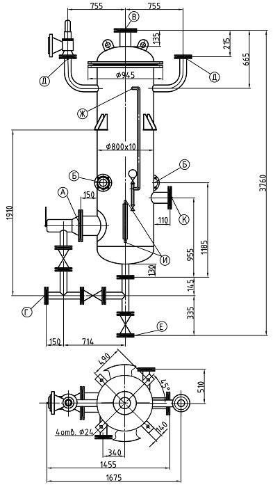 Сепаратор непрерывной продувки СП-1,4-0,8