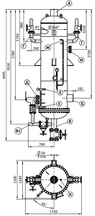 Сепаратор непрерывной продувки СП-1,5-0,8